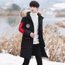 花花公子贵宾 冬季新款韩版中长款过膝保暖大衣连帽外套大毛领羽绒服男