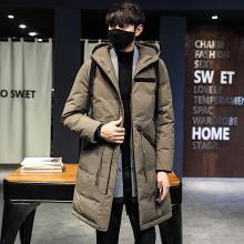 芃拉冬季新款加厚男士羽绒服中长款连帽白鸭绒保暖韩版外套DB1891
