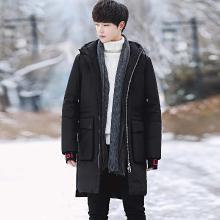 花花公子贵宾 冬季新款男士羽绒服中长款连帽棉服加厚休闲羽绒外套男