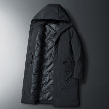 富贵鸟男装冬季新款冬装保暖加厚外套中长款连帽男士羽绒服潮FA902