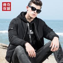 传奇保罗短款羽绒服男2018冬季新款黑色棒球领时尚外套男士棒球服Y18D027
