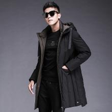 富贵鸟男装冬季新款中长款连帽冬装保暖加厚外套男士羽绒服潮FA909