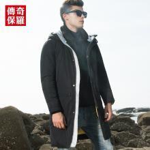 传奇保罗连帽羽绒服男 2018冬季新款时尚绣花男士中长款保暖外套Y18D035