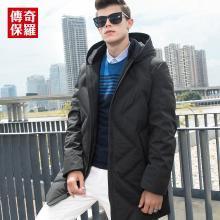 传奇保罗羽绒服男 2018冬季新款九宫格中长款灰鸭绒加厚保暖外套Y18D015