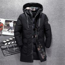战地吉圃 男士长版羽绒服休闲时尚大气男装外套防风保暖冬季外套