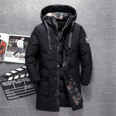 戰地吉圃 男士長版羽絨服休閑時尚大氣男裝外套防風保暖冬季外套