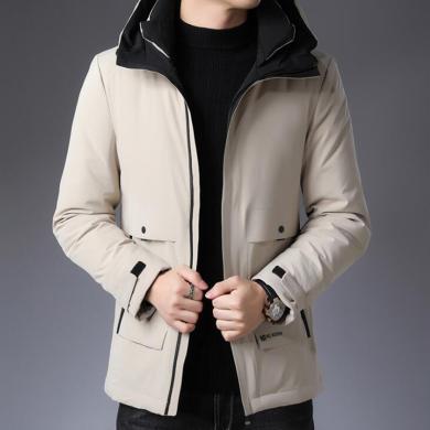 花花公子贵宾 冬季新款时尚潮流休闲羽绒棉服男加厚羽绒服户外保暖外套