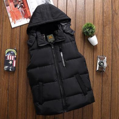 戰地吉圃 冬季新款連帽羽絨馬甲男休閑寬松大碼純色開衫外套厚
