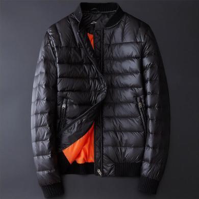 戰地吉圃  新款秋冬季羽絨服男短款輕薄修身青年棒球領夾克保暖外套