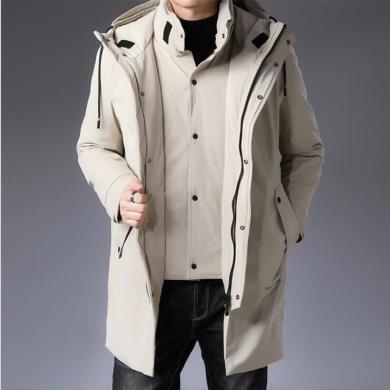 花花公子贵宾 冬季新款男士假两件羽绒服时尚连帽中长款男式羽绒服外套