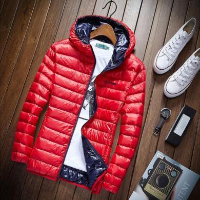 戰地吉圃 冬季新款連帽羽絨服男輕薄款青年休閑寬松大碼白鴨絨外套