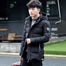 卓狼中长款棉衣男外套冬季男士韩版修身加厚黑色可脱帽棉服M618QG