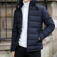 花花公子贵宾 秋冬装新款可拆卸连帽短款棉衣男士保暖棉服外套
