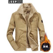 JEEP吉普 新款冬装羊羔绒休闲外套加厚加绒男士棉衣大码宽松爸爸装1771Q