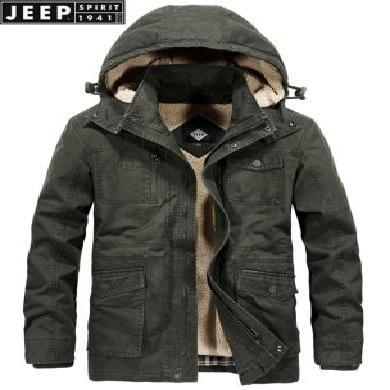 JEEP/吉普男装棉服新款冬季可拆内胆棉衣中长款加厚多口袋宽松纯棉大码可拆帽JPCS1507