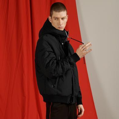 海德斯曼秋冬新款棉服男短款 时尚黑色连帽外套宽松棉衣HD65028