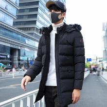 花花公子贵宾 秋冬装新款男士加厚连帽棉衣男韩版修身中长款棉服外套