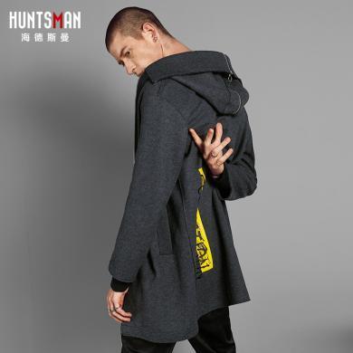 海德斯曼新款毛呢大衣男 中长款男士外套修身保暖冬装潮HD69003