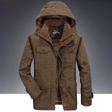 戰地吉普 冬季新款男裝加絨加厚棉衣可拆卸連帽棉服外套男