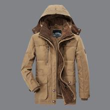 戰地吉普 冬季新款大碼可拆卸風帽棉衣男休閑夾棉加厚棉服外套