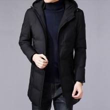 花花公子贵宾 冬季新款男装中长款保暖棉衣加厚棉服外套连帽大衣男