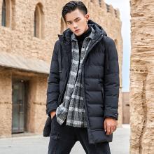 花花公子贵宾 冬季新款棉衣男韩版中长款加厚连帽棉服休闲保暖外套男