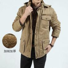 戰地吉普 男士棉衣冬季新款男裝大碼中長款寬松休閑加絨加厚工裝外套男