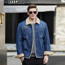 JEEP/吉普 冬季新款男士加绒牛仔棉衣多袋翻领宽松大码男装休闲厚夹克 CLY027Q