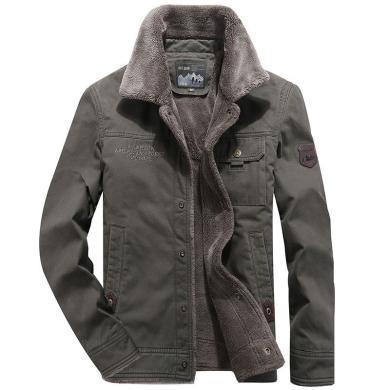 戰地吉普 男裝冬季新款棉衣翻領加絨加厚短款保暖羊羔絨棉服男士外套