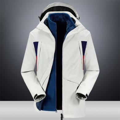 战地吉圃 冬季户外两件套棉服加绒加厚可拆卸内胆保暖防水防风冲锋衣男