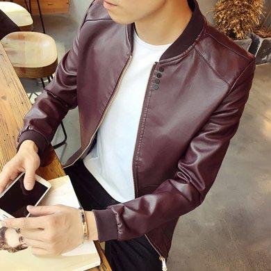 卓狼新品男士皮衣 短款修身夾克外套 青年PU仿真皮機車皮夾克P701