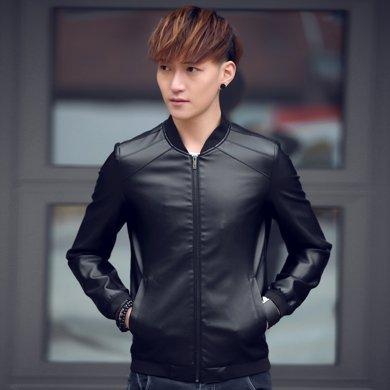 卓狼春秋季男士皮衣外套薄款新款PU皮夾克男青年機車秋裝潮修身型P3188