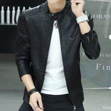 卓狼男士皮衣新款帅气冬季加厚外套修身韩版青年加绒潮pu皮夹克男P7963