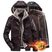 战地吉普 冬季新款男士皮衣外套PU皮毛一体加绒加厚保暖连帽皮夹克男
