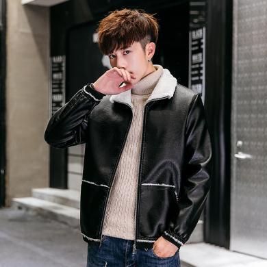 卓狼男士皮衣秋冬季時尚毛領加厚修身韓版加絨皮夾克帥氣青年保暖外套男裝PR817QG