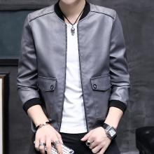 卓狼男装男士皮衣秋冬季新款PU皮夹克棒球领青年时尚大口袋休闲外套P816QG