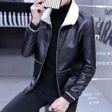 卓狼皮衣男士秋冬季时尚毛领加厚修身韩版加绒夹克帅气青年休闲外套PR666CSL