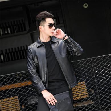 花花公子貴賓 新款韓版中年男士皮衣時尚修身皮夾克休閑外套