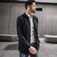 酷衣购 新款男士立领风衣 男韩版修身中长款大衣秋装潮流外套3011