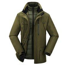 战地吉普 冬季新款户外男士保暖两件套冲锋衣防风防水三合一登山服滑雪服