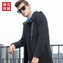 传奇保罗连帽风衣男 2018秋季新款男士修身时尚秋冬外套外衣F18Q012