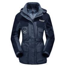 战地吉普 冬季新款户外三合一两件套防水保暖登山服中长款冲锋衣防寒风衣女款
