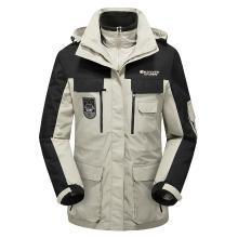 战地吉普 冬季新款户外三合一两件套防水保暖登山服中长款冲锋衣防寒风衣男款