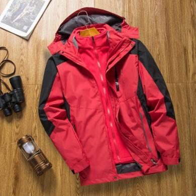 战地吉圃 秋冬户外三合一加绒加厚保暖透气防风防水男士冲锋衣外套