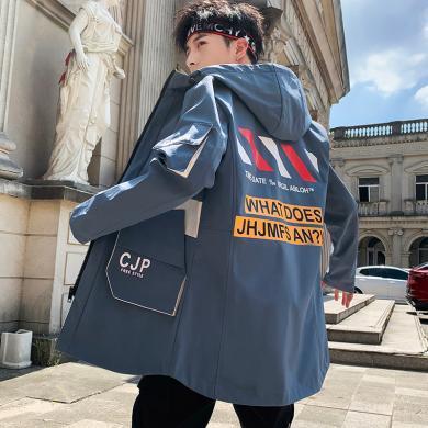 拓路者 2019年秋季新款男士港風寬松時尚夾克中長款大衣外套   QT815702
