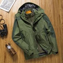 戰地吉圃 秋冬戶外三合一加絨加厚保暖透氣防風防水男士沖鋒衣外套