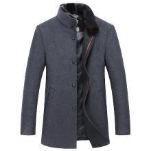 魔力怪车 冬季新款男士毛呢外套中老年商务休闲毛呢大衣加厚爸爸装