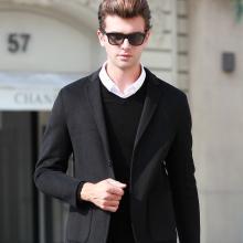 沐羊新羊毛韩版休闲男士大衣男装毛呢外套双面呢棒球服W88078