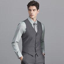艾梵之家 秋季男士正装西服马甲商务修身黑色斜纹马甲背心男MJ086