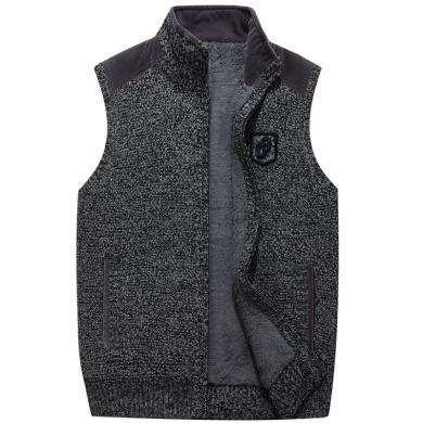 戰地吉普 秋冬裝新款男士立領毛衣馬甲時尚加絨加厚無袖毛衣外套男